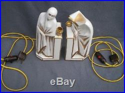 Paire de lampe statue orientale art deco 1920 ELTE perfume lamp femme vintage