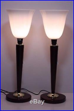 Paire de lampes UNILUX style Mazda ART DECO finition acajou