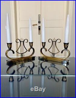Paire de lampes de table Art Déco Opaline Fausse bougies Vintage Décoration
