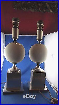 Paire de lampes design époque 1980 forme de lune faience craquelée metal brossé