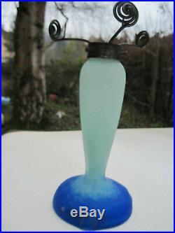 Pate De Verre Lampe Art Deco Art Nouveau Signe Nancy, Daum Nancy Galle Muller