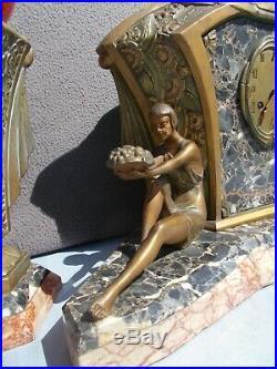 Pendule horloge lampe sculpture art deco LIMOUSIN statue femme en regule bronze