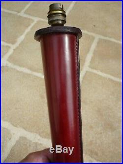 Pied De Lampe 46 CM Art Deco Gaine Cuir Pique Sellier Facon Hermes Jacques Adnet