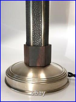 Pied De Lampe Art Déco Moderniste Galuchat Bronze Argenté Palmier Estampille Ag