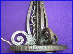 Pied De Lampe Fer Forge Daum Muller Art Deco Nouveau 1900