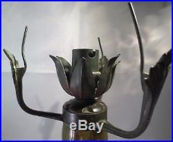 Pied de lampe Champignon en pate de verre de LEGRAS -1910- décor houx