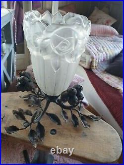 Pied de lampe art déco art nouveau en fer forgé
