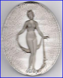 Pierre D'avesn Verre de Lampe Veilleuse Nymphette Art Deco 1930