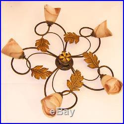 Plafond Plafonnier Lampe 5 Led Lumieres Art. 10 Verre Cristal Fer Forge Art Deco