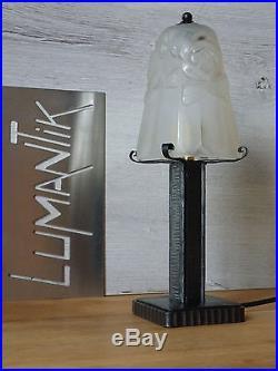 RARE 1 ancienne lampe fer forgé avec Tulipe DEGUÉ Lampe ART DECO qualité
