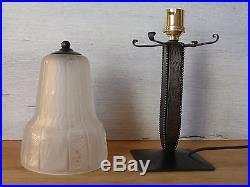 RARE 1 ancienne lampe fer forgé avec Tulipe MULLER Frères Lampe ART DECO