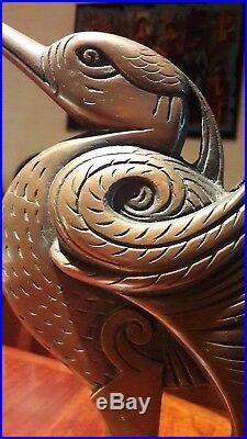RARE Lampe ibis bronze Art Deco Nouveau signée SCHNEIDER et PETIT-MONSIGNY, lamp