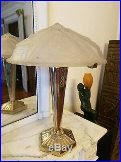 RARE très grande lampe Art Deco verre signé Muller Frères Luneville verrier