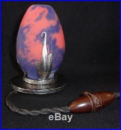 ROBJ Art Déco Lampe veilleuse brûle-parfum fer forgé et tulipe pâte de verre