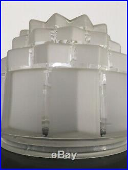 Rare Grand Globe Lampe Suspension Art Déco Moderniste Building Skyscraper