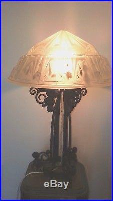 Rare Lampe Art Déco Fer Forge Vasque Signée Muller Frères Lunéville French Lamp