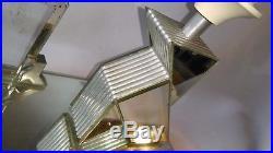 Rare Lampe Cadre Cocotte Art Déco En Miroir Et Aluminium Origami