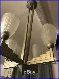 Rare Lustre Art Deco Donna Paris Lampe French Applique Degue Muller Daum