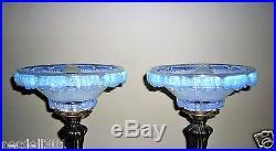Rare Paire De Lampe Art Deco Signe Ezan Tulipe Opalescente Candlestick