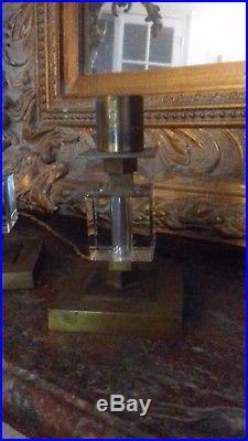 Rare Paire de Lampes Art Déco Adnet en Bronze et Cristal de Baccarat