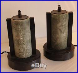 Rare paire de lampes art deco moderniste galuchat