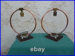 Rare paire de lampes moderniste Art Deco Perzel Adnet