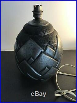 René DELAVAN Lampe art déco en dinanderie forme ananas étain garanti
