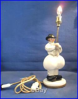 Robj Paris France Lampe Art Déco Modèle Breton Quimper Céramique Émail Vintage