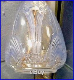 Robj Rare pied de lampe Art Nouveau-art deco en verre teinté bleu-sandoz