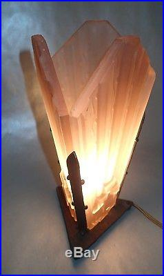 SCHNEIDER ANCIENNE LAMPE DE BUREAU à PLAQUE ROSE ART DECO dlg muller daum