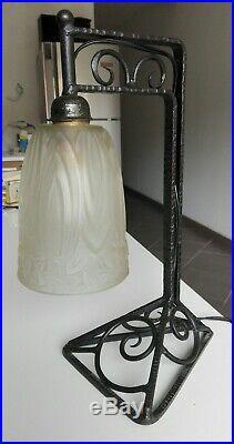 SCHNEIDER lampe art déco pâte de verre signée fer forgé 1930 ancien