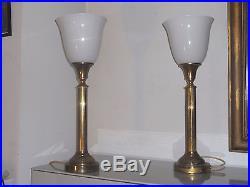 SPLENDIDE PAIRE GRANDE LAMPE ART DECO 60cm LAITON CANNELÉ DIFFUSEUR OPALIN 40/50
