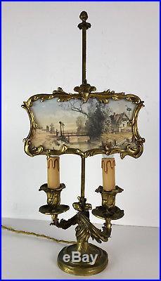 SUPERBE LAMPE 2 LUMIERES EN BRONZE AVEC SON ECRAN (eau forte) DU 19 eme