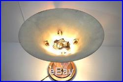 SUPERBE LAMPE D'AMBIANCE ART DECO CUIVRE et VERRE OPALESCENT EZAN ou AUTRE XXe