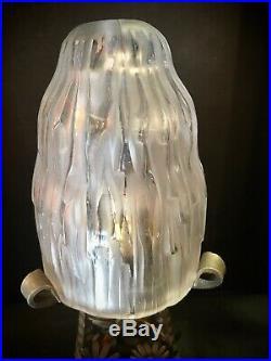 Sabino Lampe Joli Pied En Bronze A Decor De Fleurs Art Deco
