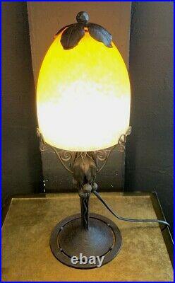 Schneider-Charder-Lampe art nouveau fer forgé pate de verre-daum-gallé-muller