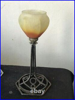 Schneider, Lampe Art Déco, Pâte de verre, fer forge. Brandt Kiss