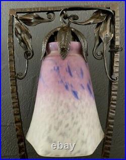 Schneider et Barthelemie-lampe art deco fer forgé martelé-muller-daum-brandt