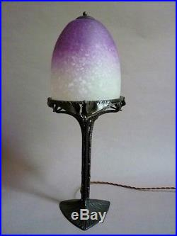 Schneider et Fournier lampe verre et fer forgé Art Déco 1930