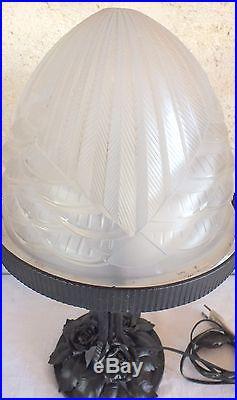 Schneider grande lampe pate de verre fer forgé art déco 47 cm