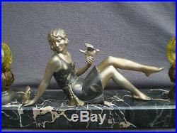 Sculpture lampe veilleuse art deco 1920 femme vintage statue lamp woman pin-up