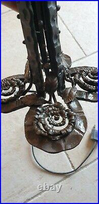Siperbe Et Grand Pied De Lampe Art Deco Gout Edgar Brandt Fer Forge Qualite 35cm