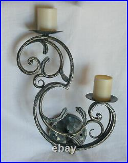 Suite de 4 APPLIQUES Fer Forgé Vintage 1950 Lampe style Bagues Brandt Art déco