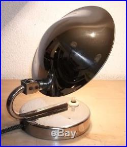 Superbe Ancienne Lampe Art Deco Tcheque En Metal Chrome Napako