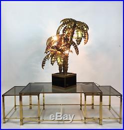 Superbe Lampe Année 70 Style Jansen À Triple Palmiers En Métal Doré