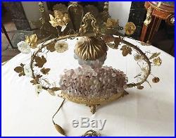 Superbe Lampe Art Déco Bronze & Verre Panier Fleuri Fleurs Verre Globe 50 cm