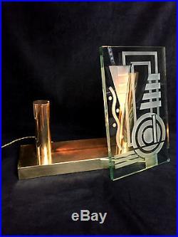 Superbe Lampe Art Deco (jacques Adnet)en Bronze Et Verre Gravé (st Gobain)