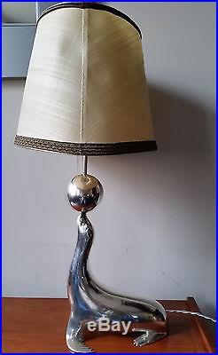 Superbe Lampe Otarie Bronze Argenté Art Deco / Almazan Sarreid Spain