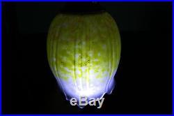 Superbe Lampe Tulipe Daum Nancy Pied En Laiton Art Deco/nouveau Pte De Verre