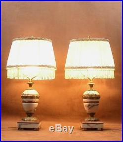 Superbe Paire De Lampes Cassolettes En Marbre Et Bronze Epoque Art Deco